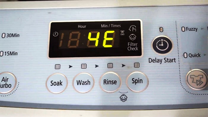 Máy giặt Samsung báo lỗi 4E: 5 cách sửa lỗi 4E trong 15 phút