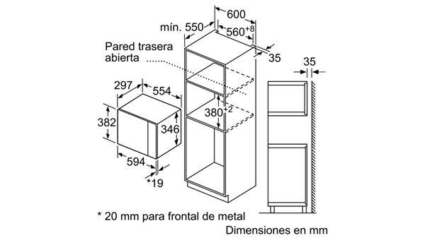 Kích thước lò vi sóng âm tủ Bosch BFL523MS0