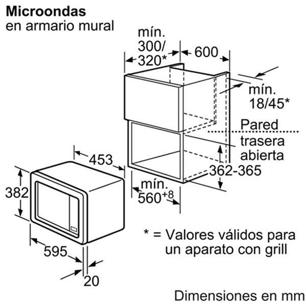 Kích thước lò vi sóng âm tủ Bosch HMT72G650
