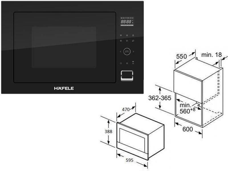 Kích thước lò vi sóng âm tủ Hafele HM-B38B dung tích 32L