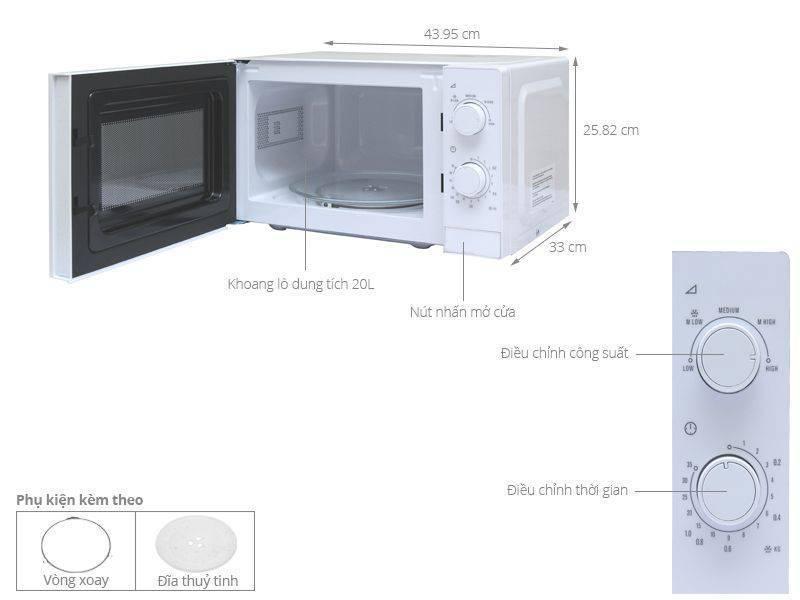 Kích thước lò vi sóng Electrolux EMM2022MW 20 lít
