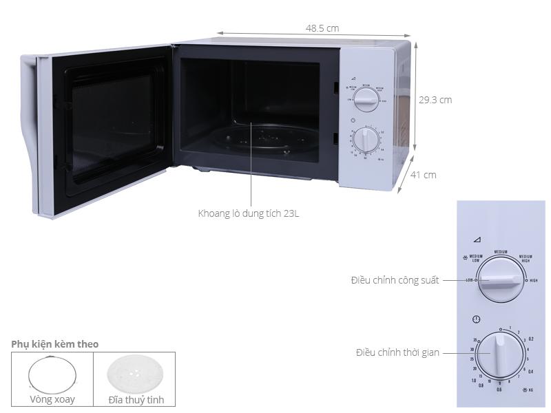 Kích thước lò vi sóng Electrolux EMM2322MW 23 lít
