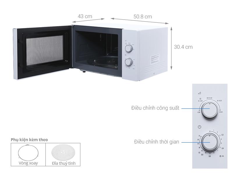 Kích thước lò vi sóng Electrolux EMM2525MW 25 lít