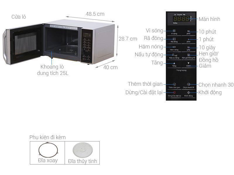 Kích thước lò vi sóng Panasonic NN-ST34HMYUE 25 lít