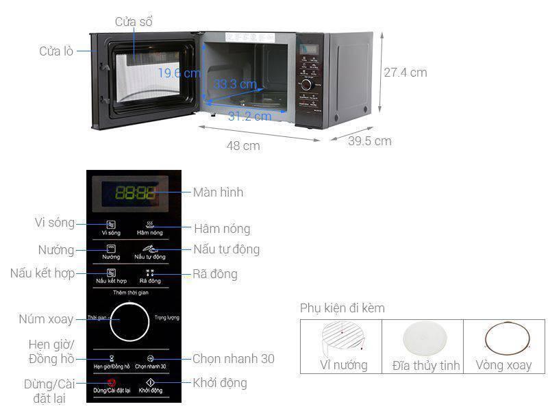 Kích thước lò vi sóng inverter Panasonic NN-GD37HBYUE 23 lít
