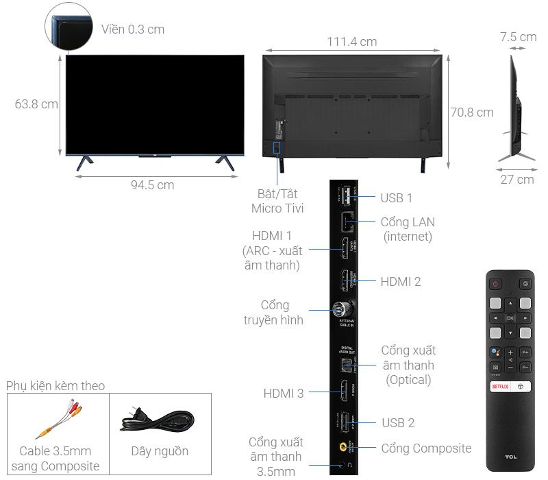 Kích thước tivi 50 inch TCL1