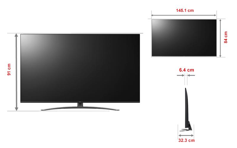 Kích thước tivi 65 inch LG1