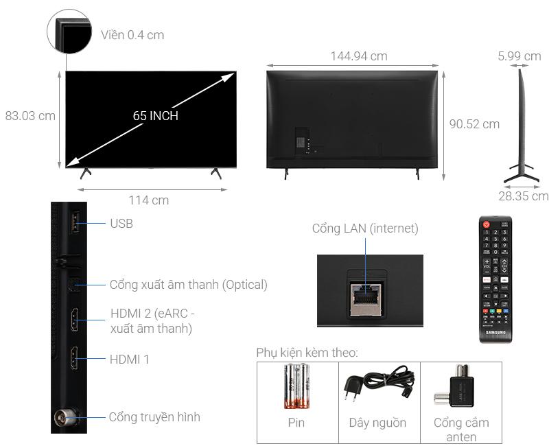 Kích thước tivi 65 inch Samsung