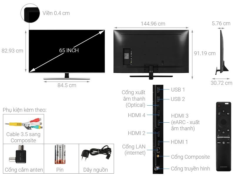 Kích thước tivi 65 inch Samsung1