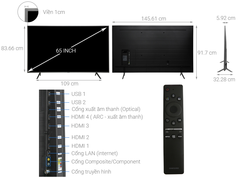Kích thước tivi 65 inch Samsung2.jpg