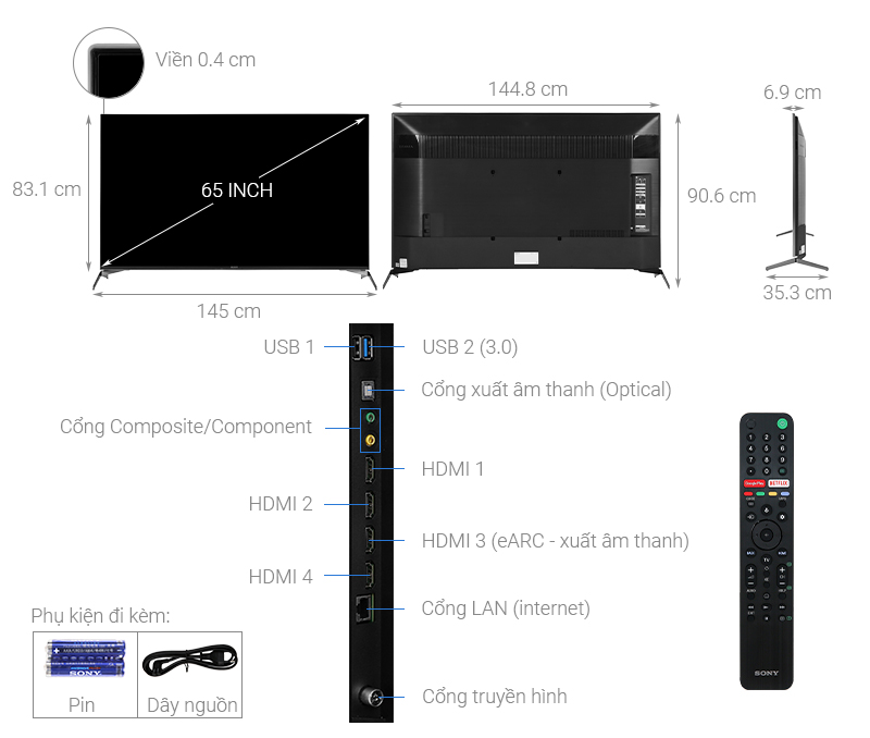 Kích thước tivi 65 inch Sony1