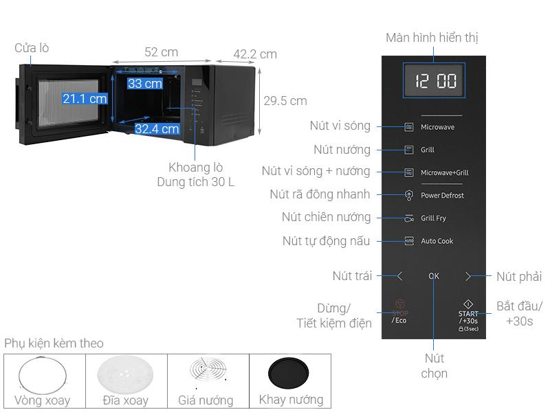 Lò vi sóng Samsung MG30T5018CKSV 30 lít