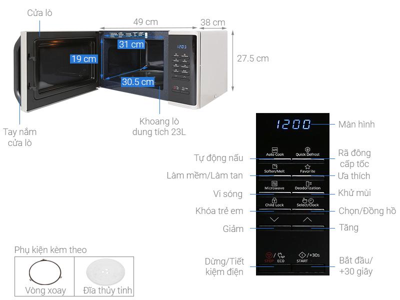 Lò vi sóng Samsung MS23K3513ASSV-N 23 lít