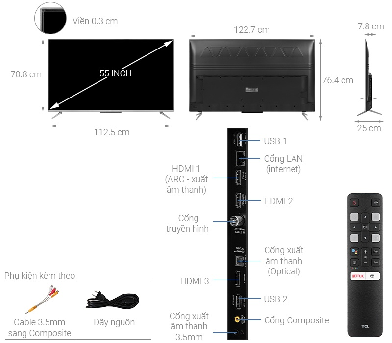 Smart Tivi TCL 4K 55P715 55 inch UHD