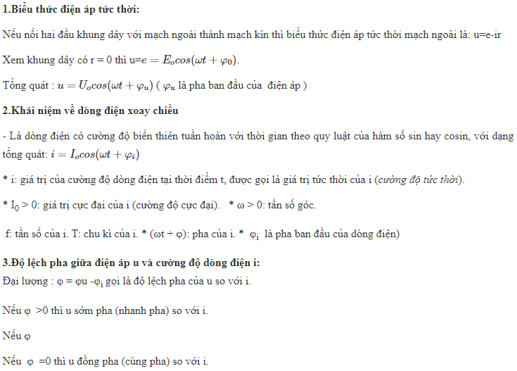 dong dien xoay chieu vat ly 9