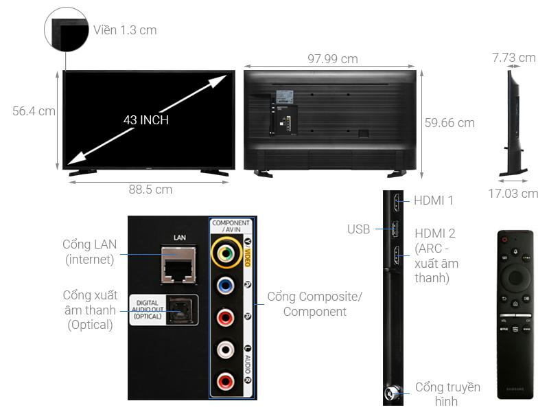 Kích thước Tivi 43 inch Samsung1