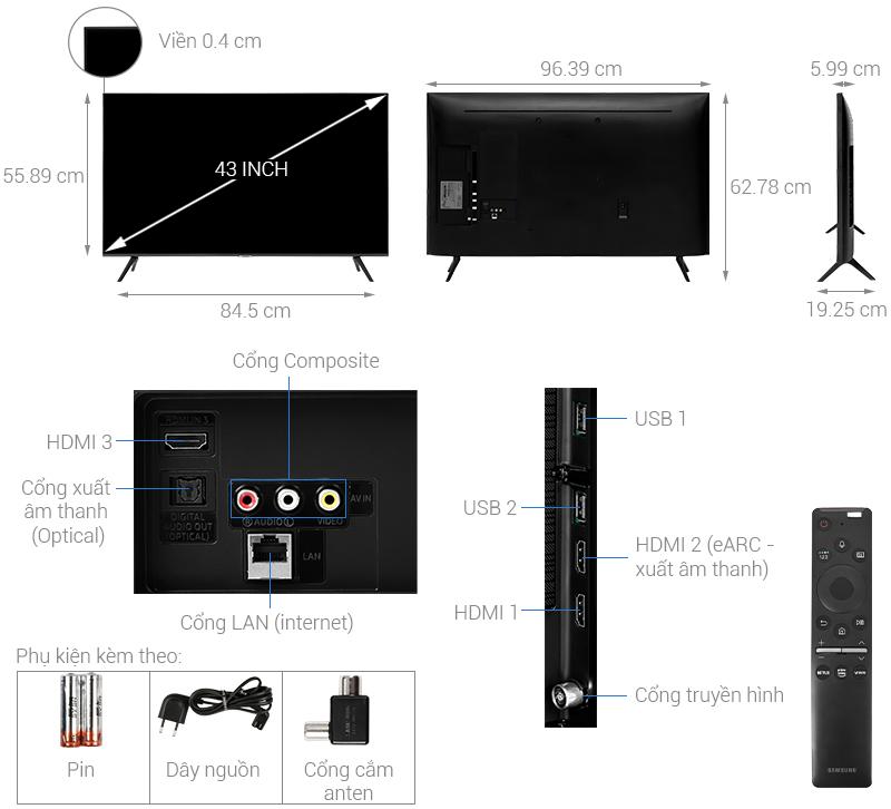 Kích thước Tivi 43 inch Samsung2
