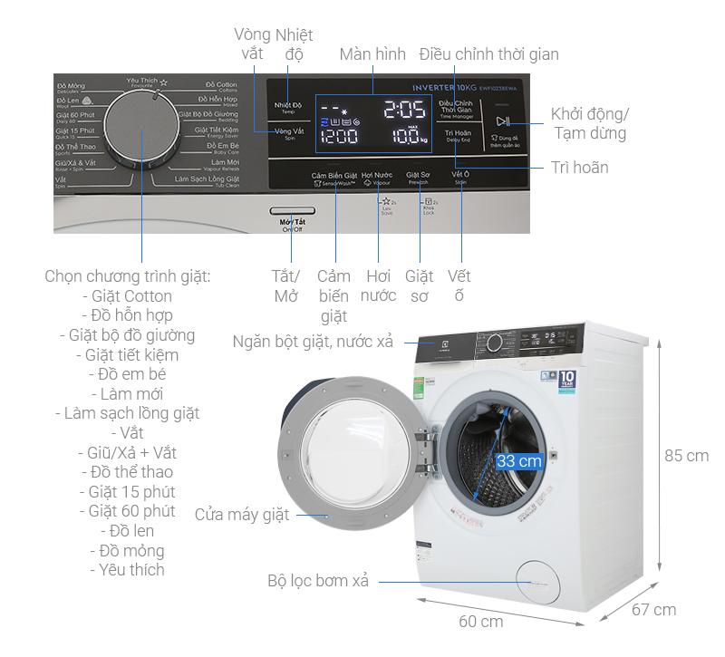 Kích thước máy giặt Electrolux 10 kg