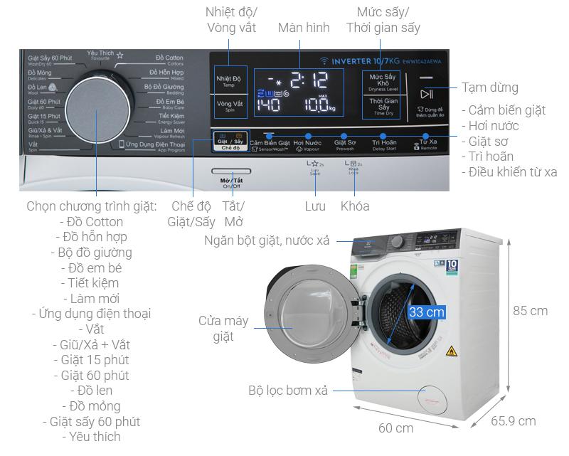 Kích thước máy giặt Electrolux 10 kg1