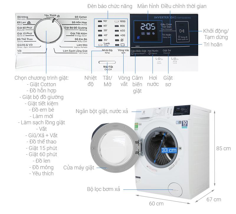 Kích thước máy giặt Electrolux 10 kg2