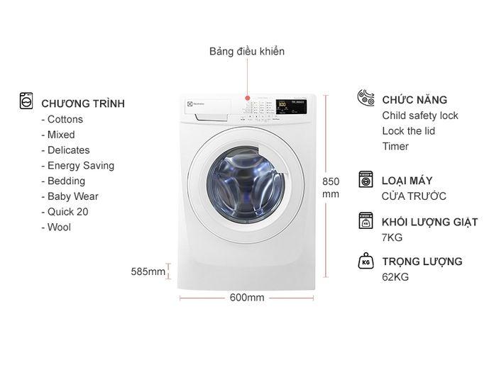 Kích thước máy giặt Electrolux 7kg