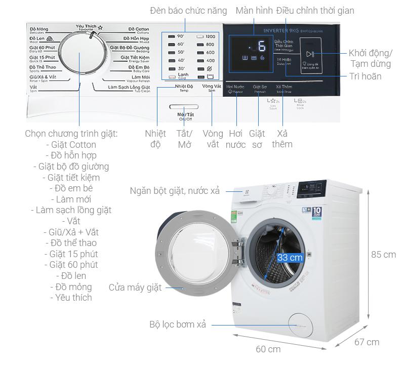 Kích thước máy giặt Electrolux 9kg1