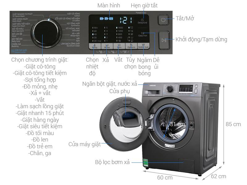 Kích thước máy giặt Samsung 8 5kg