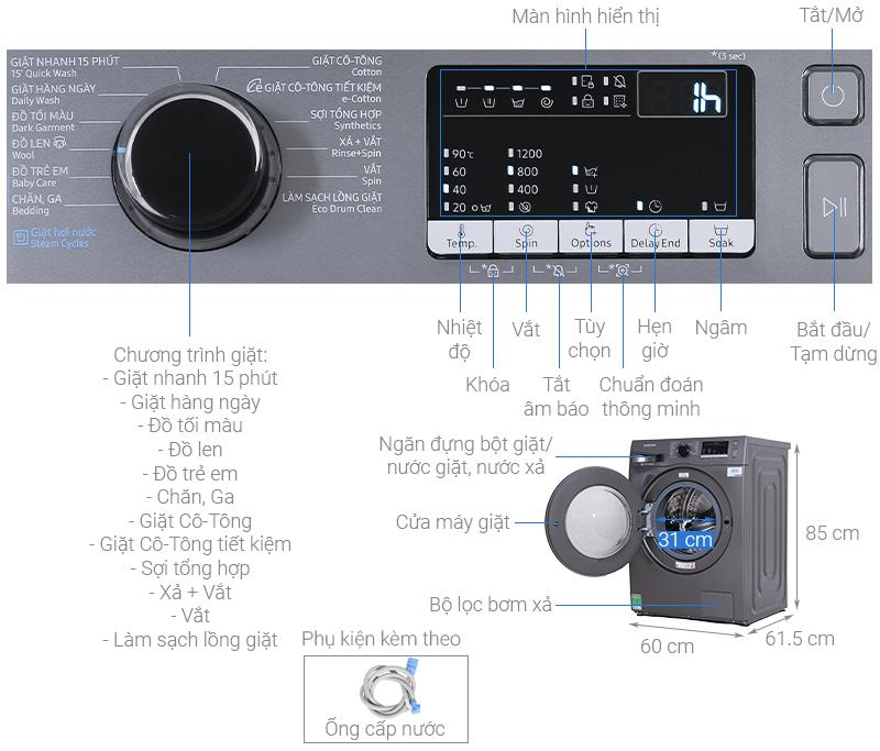 Kích thước máy giặt Samsung 8 5kg1