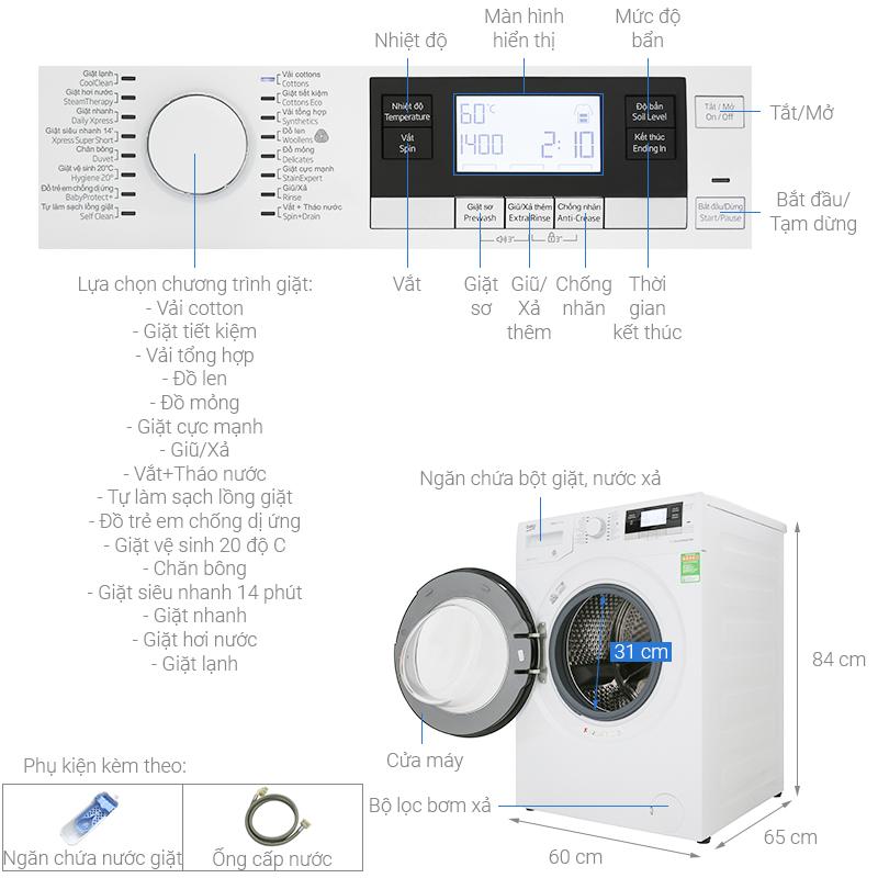 Kích thước máy giặt cửa ngang Beko