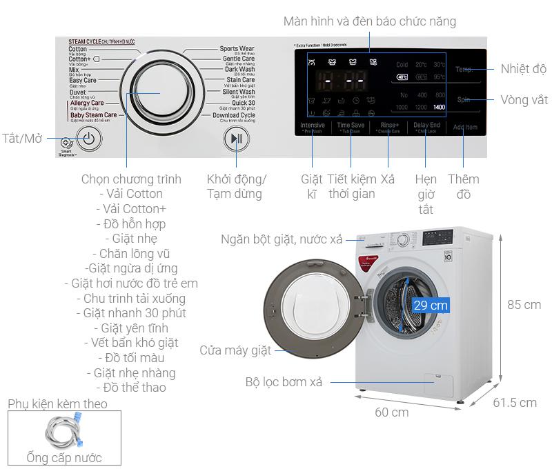 Kích thước máy giặt cửa ngang LG