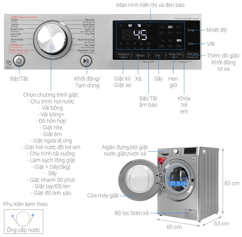Kích thước máy giặt cửa ngang LG2