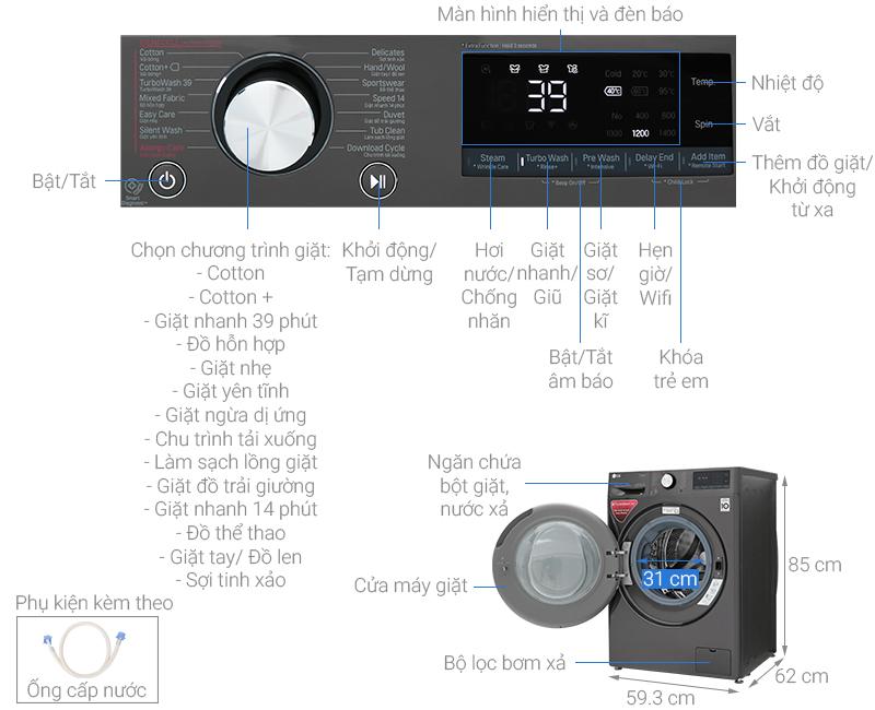 Kích thước máy giặt cửa ngang LG5