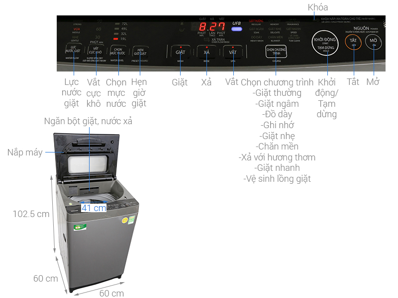 Kích thước máy giặt cửa trên Toshiba