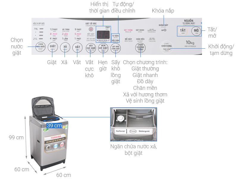 Kích thước máy giặt cửa trên Toshiba1