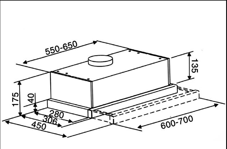 Kích thước máy hút mùi Binova