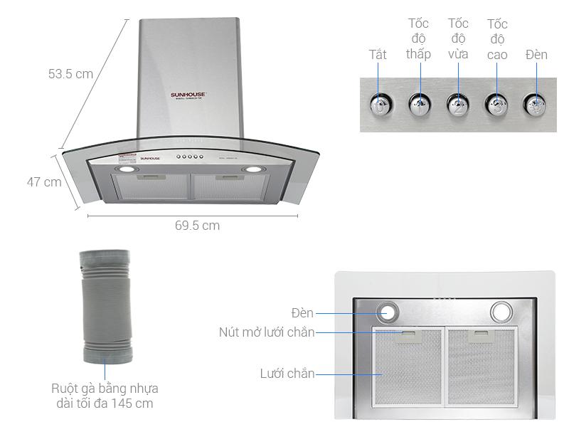 Kích thước máy hút mùi âm tủ, kính cong Canzy, Bosch, Sunhouse, Faster