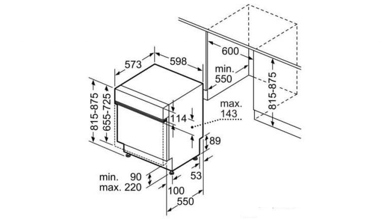 Kích thước máy rửa bát âm tủ Bosch1