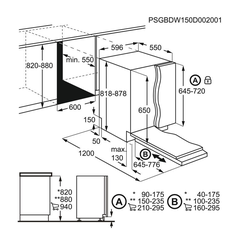 Kích thước máy rửa bát âm tủ Electrolux