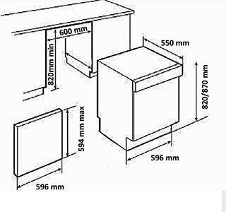 Kích thước máy rửa bát âm tủ Hafele