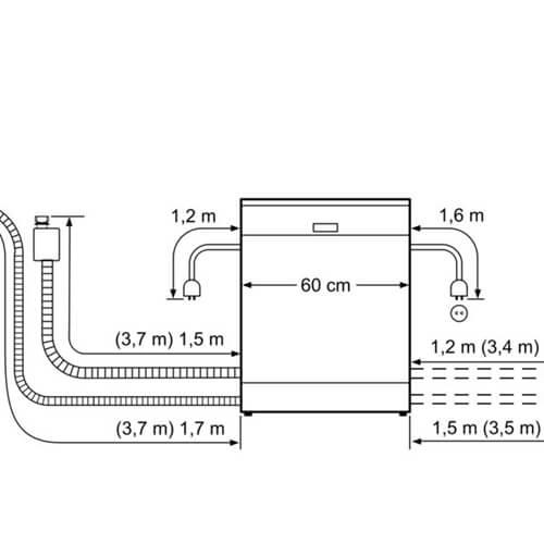 Kích thước máy rửa bát độc lập Bosch