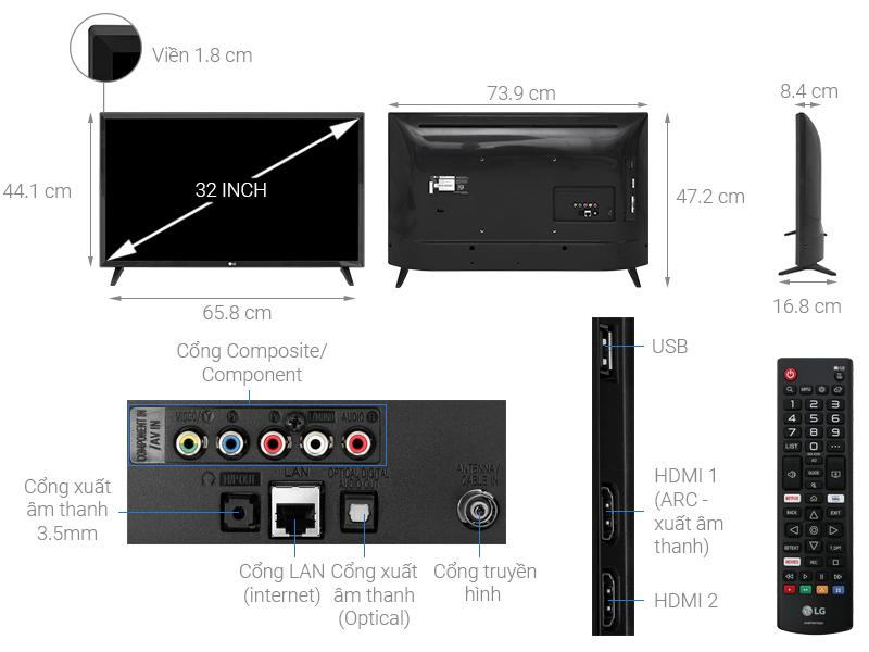 Kích thước tivi 32 inch LG