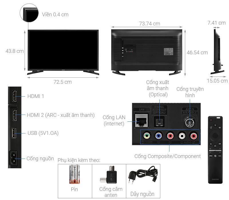 Kích thước tivi 32 inch Samsung