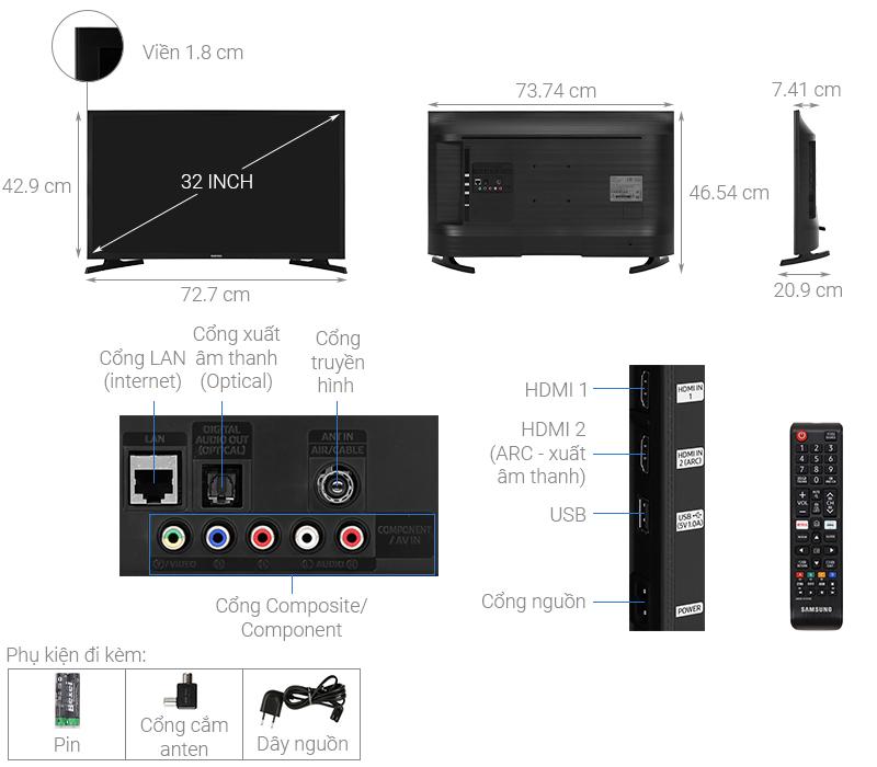 Kích thước tivi 32 inch Samsung1