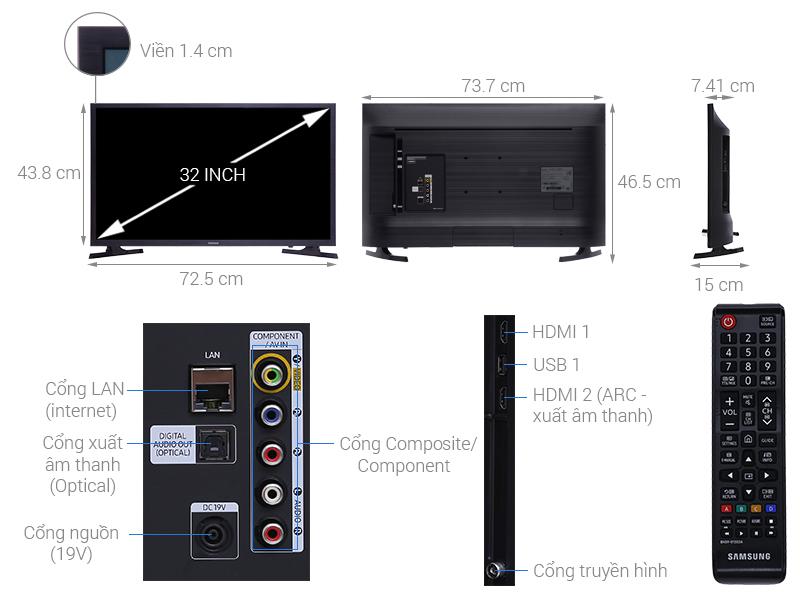 Kích thước tivi 32 inch Samsung2