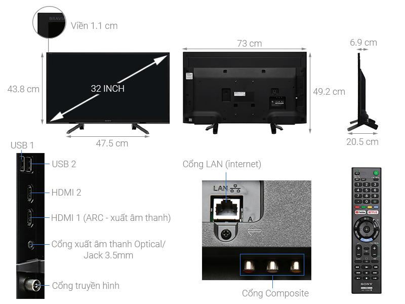 Kích thước tivi 32 inch Sony