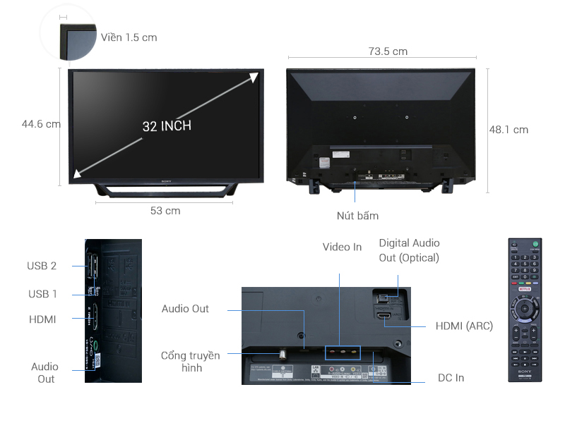 Kích thước tivi 32 inch Sony1