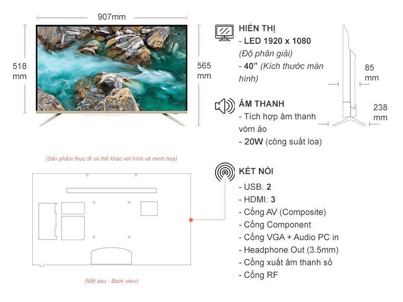 Kích thước tivi 40 inch của Samsung, Sony, Sharp, Asanzo, TCL