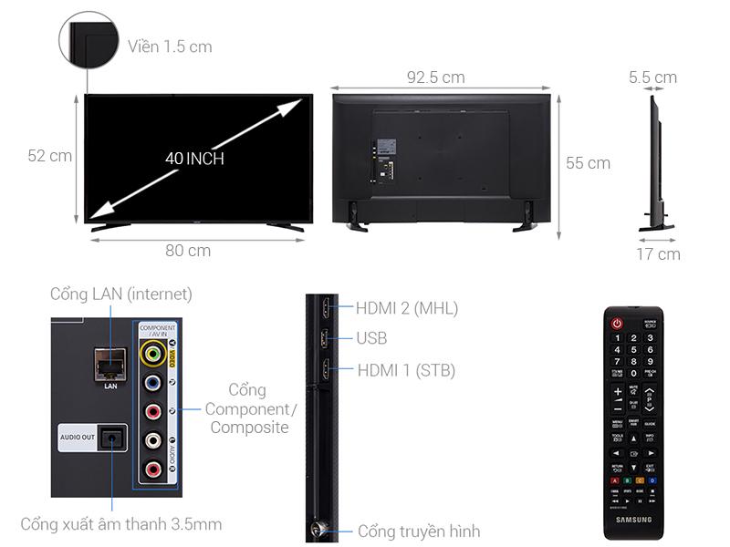 Kích thước tivi 40 inch của Samsung