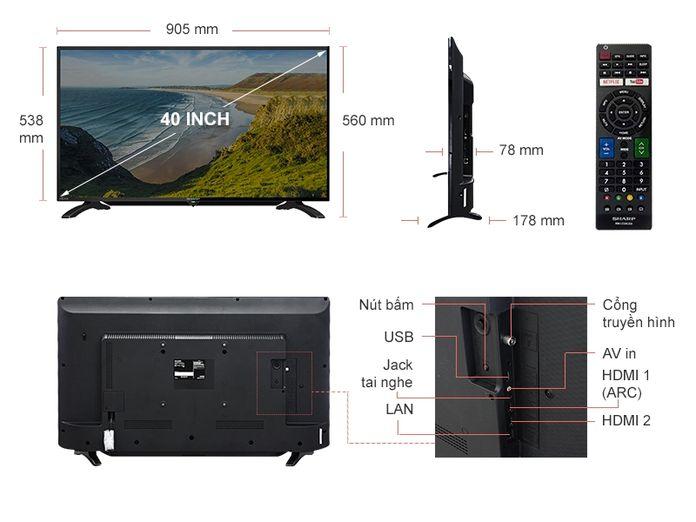 Kích thước tivi 40 inch của Sharp