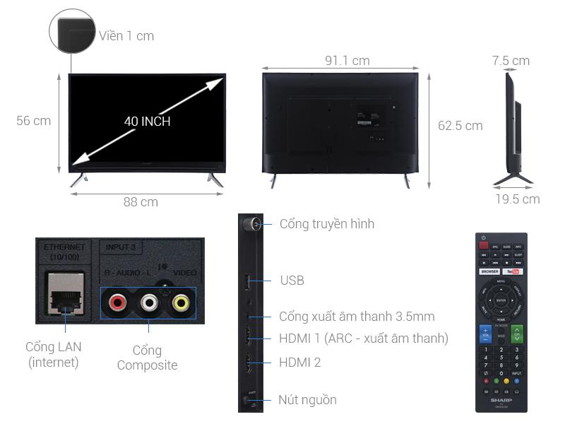 Kích thước tivi 40 inch của Sharp1